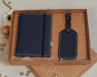 Recycled Leather Passport Cover And Luggage Label