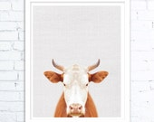 Rustic home decor, Cow Print, Cow Art, Farm Animal Wall Art, Farmhouse Decor, Animals Digital Download,  Animal Modern Minimalist