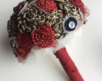 Rockabilly bouquet for a rock n roll bride, quirky, alternative wedding, retro bridal bouquet, 1950s theme, leopard print wedding flowers