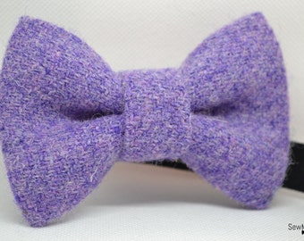 Mens Harris Tweed Bow tie - Lilac Bow tie - Gift for men - Gift for him - Secret santa - Handmade - Wool