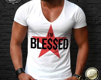 Men's T-shirt Feel Blessed Trendy Fashion Dollar Sign Star Muscle Crew Neck Deep V neck Tee RB Design Tank Top MD744
