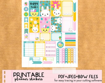 Spring Easter Bunny Weekly kit - Printable planner Stickers for Happy Planner, Print and Cut stickers - Kawaii, cute
