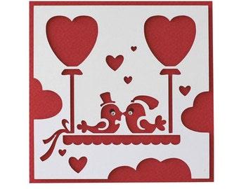 Love Birds Card , Valentines , Love , Men , Women , Red , Gifts , Hearts