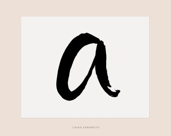 "Letter A – D : Alphabet Series  – Calligraphy Print // 8""x10"" // Black and white // Ink"