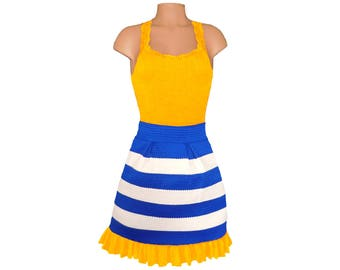 Yellow + Blue Stripe Scuba Skirt