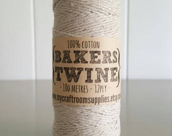 100mt roll 12ply NATURAL/SILVER Glitter Bakers Twine 100% cotton