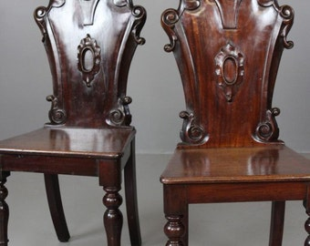 Pair Antique Victorian Hall Chairs