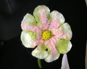 Wool felted flower brooch
