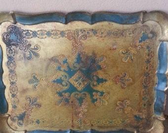 Italian wooden tray/vassoio fiorentino/wooden tray decorated