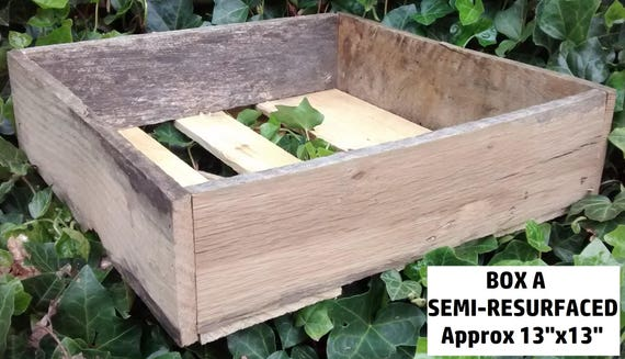 "Semi-Resurfaced Wood Crate by WEE, 13"" x 13"" x 4"", Ships next day, Tabletop display"