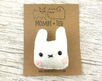 Rabbit badge, Bunny pin, cute animal brooch