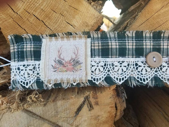 New** Country Christmas cuff, antlers, vintage plaid cuff, traditional christmas, Christmas cuff, Christmas jewelry -Fabric Cuffs