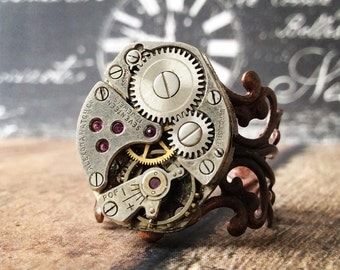Steampunk Watch Ring, Copper Ring, Watch Part Ring, Watch Gear Ring, Silver Ring, Watch Movement, Watch Movement, Steampunk Jewelry, Copper