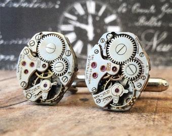 Silver Cufflinks, Steampunk, Cufflinks Watch Part Cufflinks, Wittnauer Watch, Steampunk Jewelry, Watch Movements, Silver Watch, Wittnauer