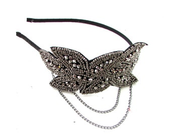 Dark Silver Black Chain Headpiece Flapper Great Gatsby Headband Vtg 1920s 600