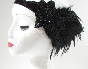 Black Sequin Beaded Feather Headpiece 1920s Headband Flapper Great Gatsby 616