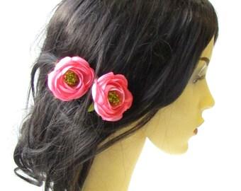 2 x Pink Ranunculus Flower Hair Pins Vintage Rockabilly Clip Rose Bud 50s 1484