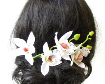 Long White Tropical Orchid Flower Hair Comb Fascinator Headpiece Hawaiian 1581