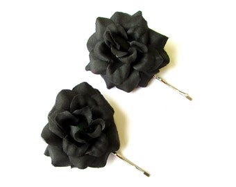 2 x Black Silver Rose Flower Hair Grips Clips Bridesmaid Bobby Pins Slides 2090