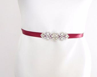 Burgundy Wine Red Silver Belt Sash 1920s Flapper Prom Great Gatsby Vintage 2437