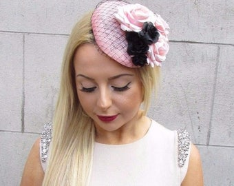 Light Pink Black Rose Net Flower Fascinator Races Headpiece Hair Clip Hat 2473