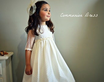 Girl COMMUNION Dress.Mod- MARINA ll.Tulle,batiste & guipure.Create your OWN communion outfit.+6 years old girl. Special finished and design.