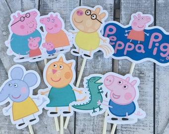 Cupcake Toppers Peppa Pig,Peppa Pig Birthday Party,Peppa Pig Birthday Decoration,Peppa Pig Party,Peppa Pig Birthday Party Decor,Toad Hollow