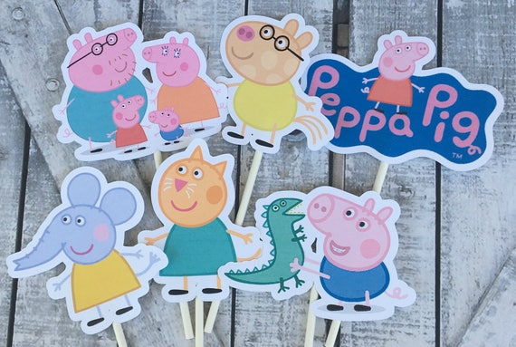 Cupcake Toppers Peppa Pig,Peppa Pig Birthday Party,Peppa Pig Birthday Decoration,Peppa Pig Party,Peppa Pig Birthday Party Decor,Toad Hollow