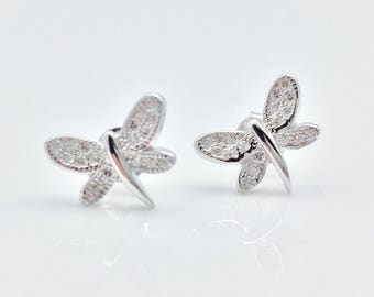 Butterfly Earrings // 925 Sterling Silver // Micro Pave Post Butterfly Earrings // Butterfly Stud Earrings