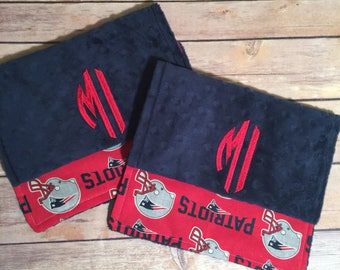 New England Patriots Burp Cloth Set Available as Upgrade Mix and Match  Made to Order, Monogramming Option Red Blue