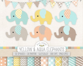 Mint, Pink, Yellow Elephant Clipart. Blue Baby Shower Clip Art, Digital Paper. Chevron Banners. Pastel Yellow, Pink, Blue Nursery Clipart