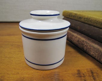 Small Pottery Butter Crock - White - Blue Bands