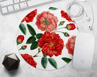 Flower Mouse Pad Floral MousePad Red Mouse Mat Rose MousePad Birthday Gift for Her Mouse Mat Round or Rectangular MouseMat Desk Accessories