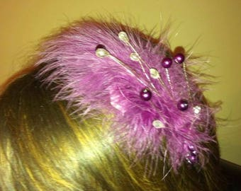 Purple feather beaded headpiece