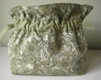 Handbag Purse Fabric Handmade Women's Accessories Sage Green Paisley, Drawstring