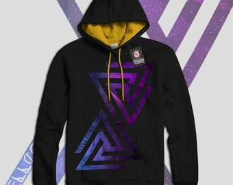 Triangle Universe Galaxy Sign Men Black (Gold Hood) Contrast Hoodie S-2XL NEW | Wellcoda *y1638