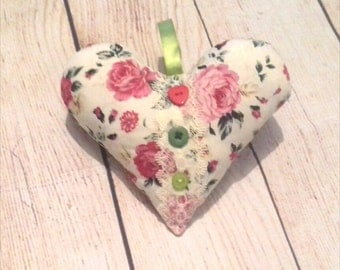 Handmade Hanging Fabric Heart Decoration Rustic Shabby Chic