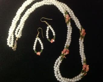 Vintage Triple Strand Pearl, Jade and Coral Necklace and Earrings Set