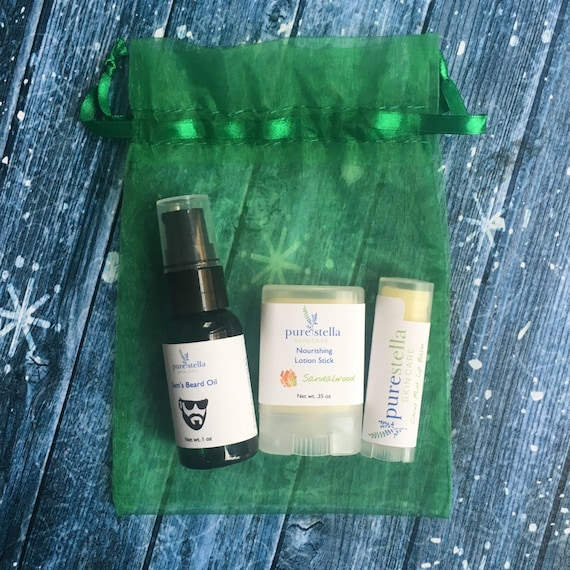 Beard Oil Gift Set - Includes All Natural Beard Oil, Lotion Stick, and Lip Balm in a gift bag