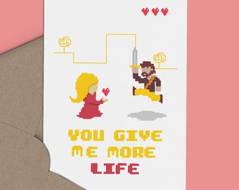 Cute Retro Gaming I Love You Card - You Give Me More Life