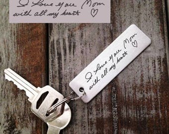 Actual Handwriting Keychain  - Mom's Handwriting -  Laser Engraved - Brushed Stainless Steel Gift- Perfect Gift for Mom