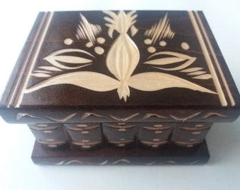 New cute puzzle box handmade brown wooden secret magic puzzle jewelry ring holder box gift treasure