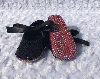 BLING Black Rhinestone Red Bottom Baby Shoes, Swarovski Baby Shoes, Handmade, AB Rhinestone, Ribbon Rhinestone Ballet Shoe, Wedding, Baptism