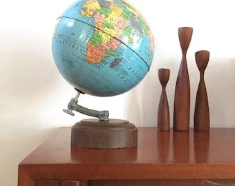 Globe vintage - globe metal 1950 - french world globe