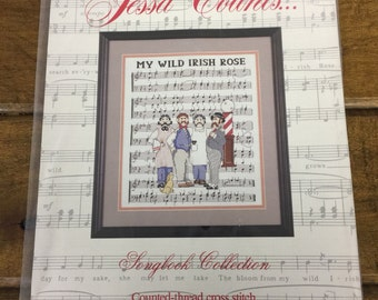 Jessa Counts New Counted Cross Stitch Kit My Wild Irish Rose Songbook Collection Barbershop Quartet Musical Staff