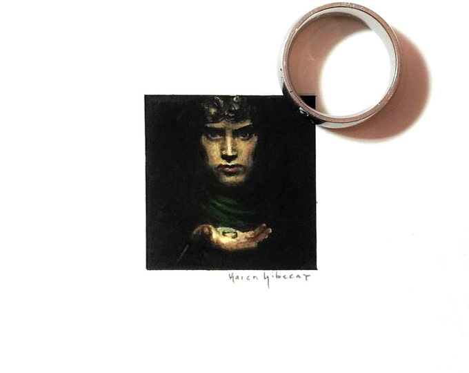 """Print of miniature painting of Frodo. 1 1/4"""" x 1 1/4"""" print of Lord of the Rings Frodo on 5"""" x 5"""" german etching paper."""