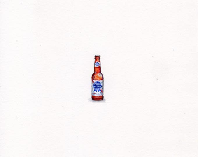 """Print of miniature painting of a PBR Beer Bottle. 1 1/4"""" x 1 1/4"""" print of original PBR Bottle painting on 5"""" square german etching paper"""