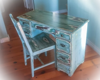 Antique Desk w/ matching chair, shabby chic desk, vintage desk, farmhouse desk, french country, blue desk, distressed vanity, makeup table