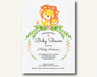 Safari Baby Shower Invitation, Jungle,  Lion, Baby Shower, Gender Neutral, Boy, Girl, Unique, Leaves, flowers, Digital, Printable, Cute,
