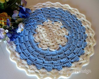 Crochet Pattern 191 DIY Placemat Crochet Round Placemat Crochet Patterns Blue Winter Placemat Home Decor Lace Doily Christmas Gift Party